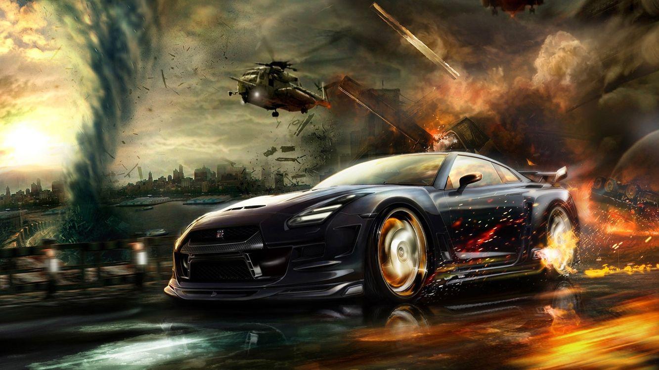 Фото бесплатно гонка, машина, огонь, вертолет, погоня, игры