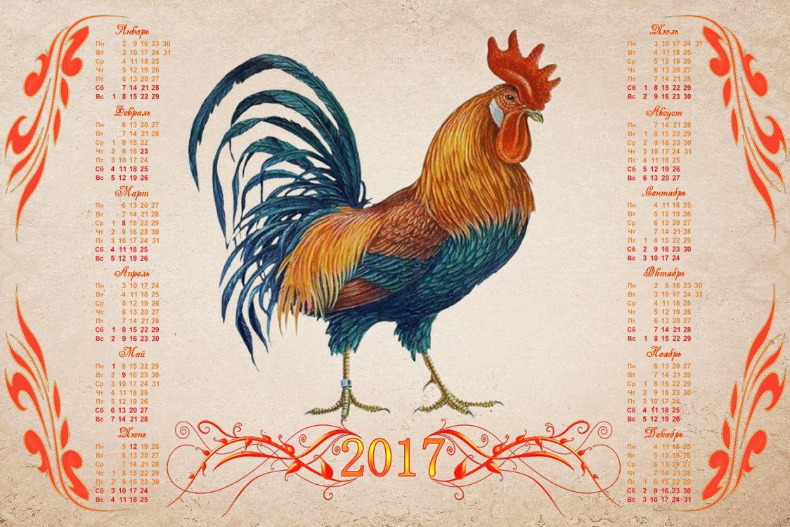 Фото бесплатно Календарь на 2017 год, Год Красного Огненного Петуха, Календарь на 2017 год Год Красного Огненного Петуха, Календарь настенный на 2017 год Огненный петух, Огненный петух, 2017 год, год петуха, рендеринг