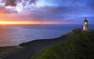 Бесплатные фото утес,дорога,трава,маяк,свет,море,горизонт