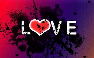 Фото бесплатно надпись love, сердечко, капли