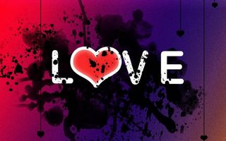 Заставки надпись love, сердечко, капли