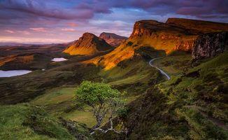 Бесплатные фото Шотландия,Остров Скай,закат,водоёмы,горы,дорога,пейзаж