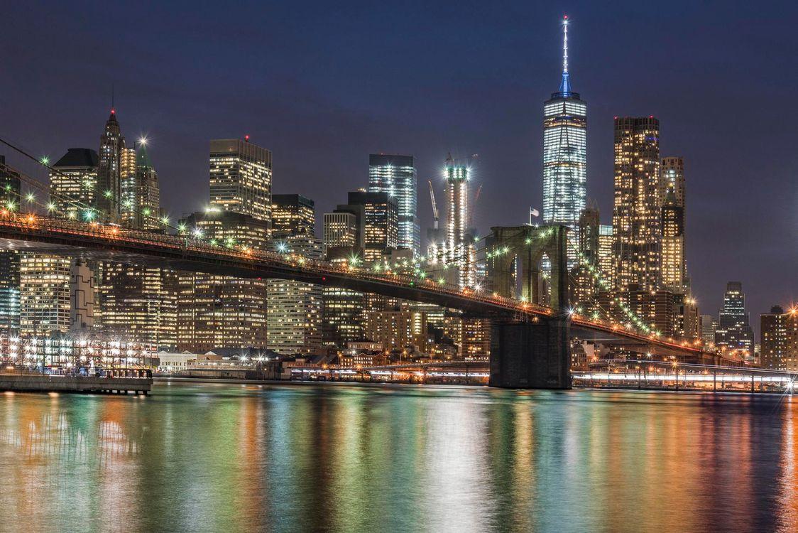 Фото бесплатно Бруклинский мост, США, соединяет Бруклин и Манхэттен в городе Нью-Йорке, город