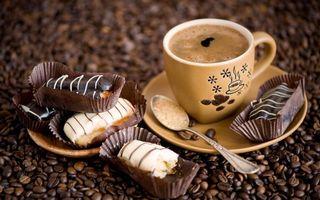 Фото бесплатно чашка кофе, пирожное, блюдце