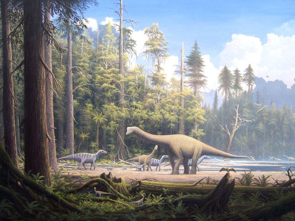 Фото бесплатно животные, динозавр, динозавры, травоядные, монстры, лес, деревья, небо, облока, вода, песок, трава, картина, живопись, искуство, животные