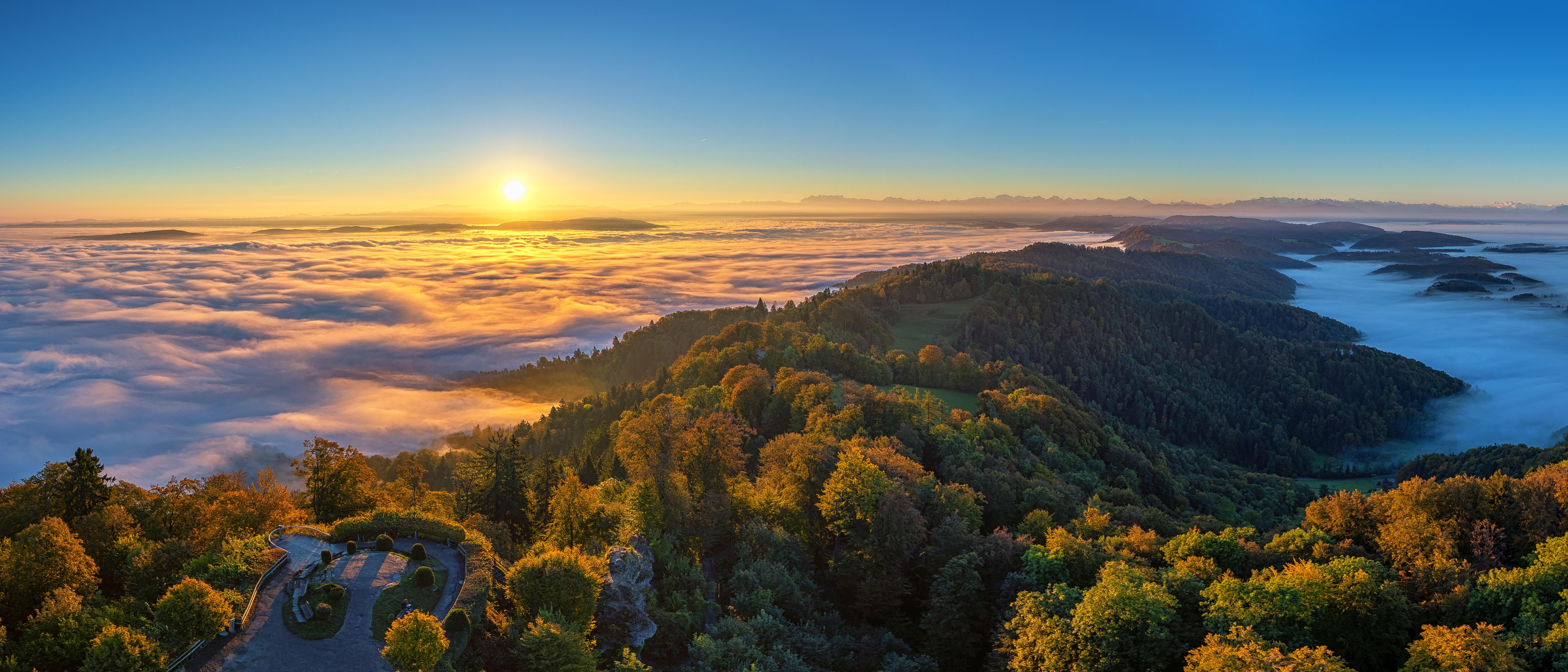 обои Цюрих, Море тумана, Восход, Панорама картинки фото