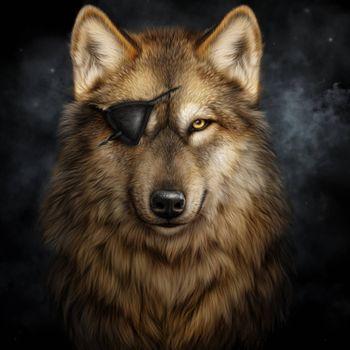 Бесплатные фото волк,без глаза,art