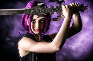 Бесплатные фото девушка воин,меч,art