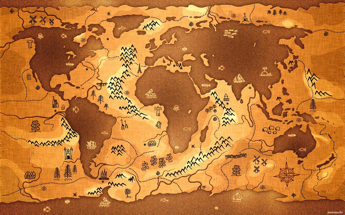 Фото бесплатно древняя карта мира, материки, континенты, папирус, разное