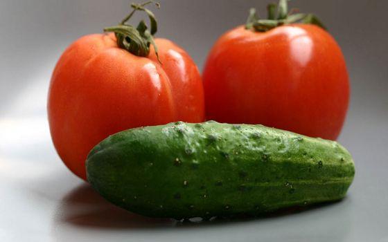 Фото бесплатно овощи, помидоры, томматы, красные, огурцы, зеленые