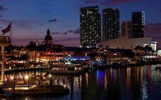 Фото бесплатно ночь, река, лодки