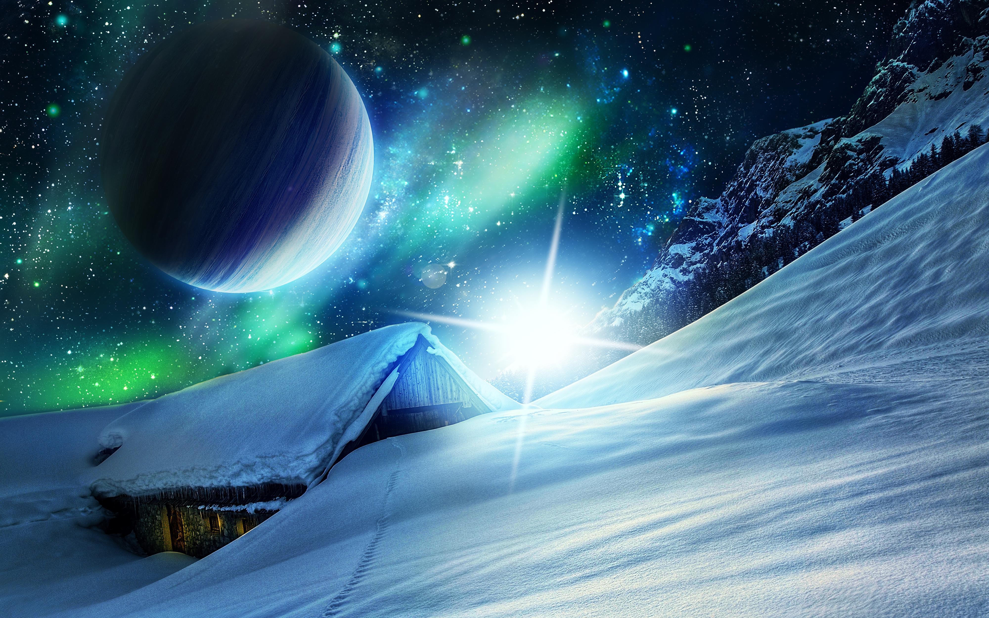 обои зима, горы, сияние, домик картинки фото
