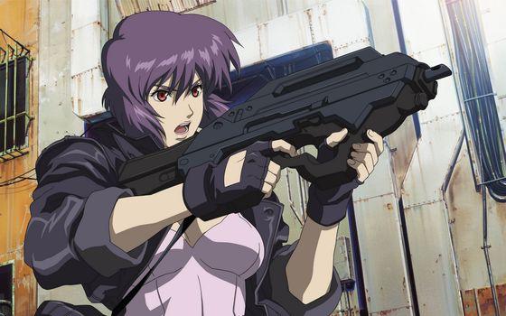 Photo free girl, anger, machine gun
