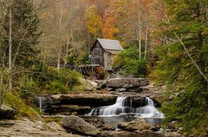 Photo free Glade Creek Grist Mill, rocks, watermill
