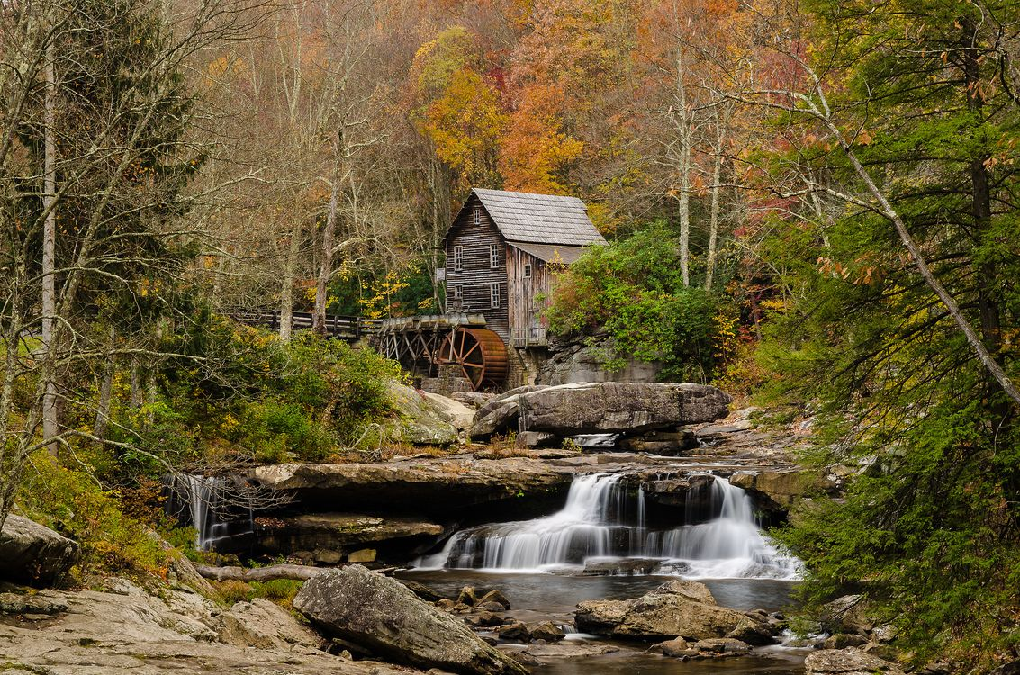 Photos for free Glade Creek Grist Mill, rocks, watermill - to the desktop
