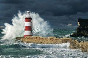 Бесплатные фото Корнуолл, Англия, Великобритания, море, шторм, маяк, пейзаж