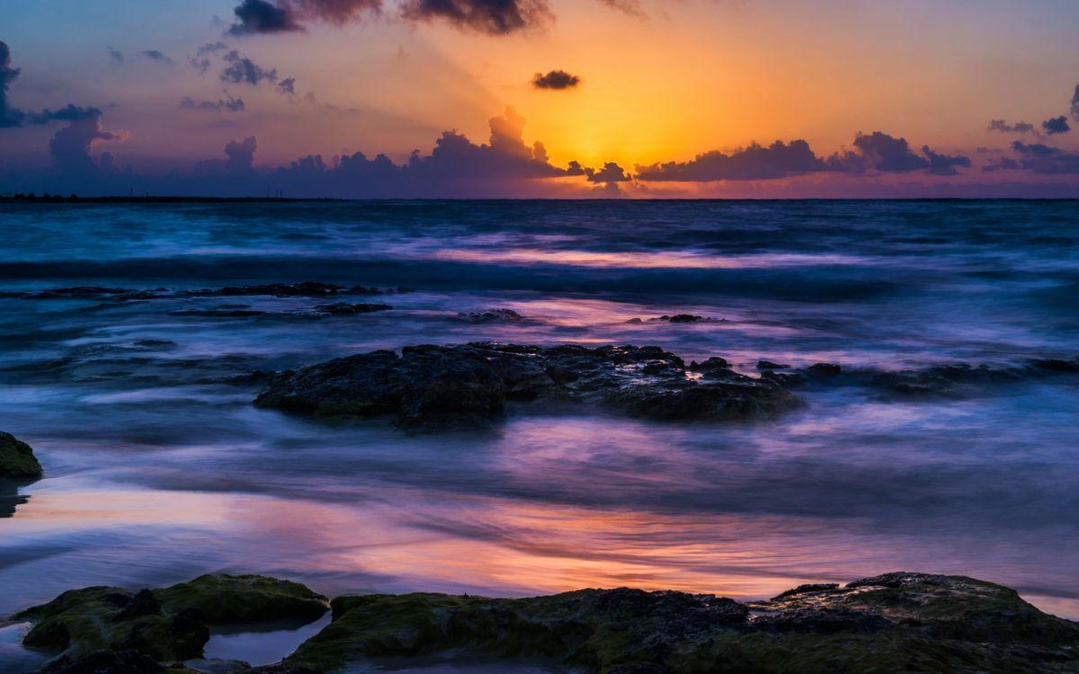 Фото бесплатно берег, камни, море, волны, горизонт, небо, облака, закат, пейзажи