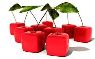 Фото бесплатно вишня, красная, квадратная, хвостики, листочки, зеленые
