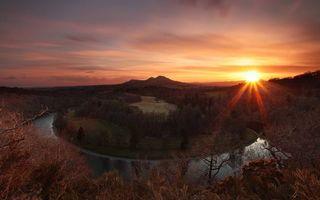 Бесплатные фото закат солнца,осень,река,полуостров