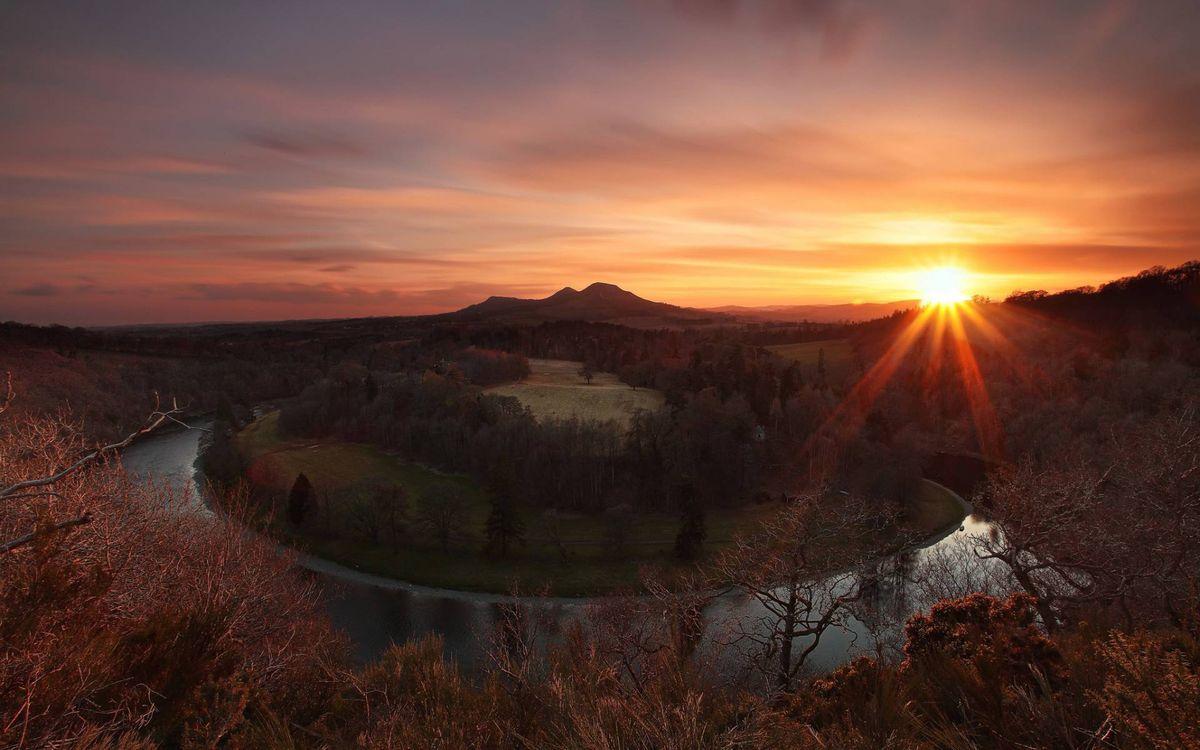 Фото бесплатно закат солнца, осень, река - на рабочий стол