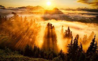Заставки горы,вершины,деревья,облака,солнце,закат,лучи