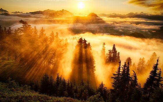 Фото бесплатно горы, облака, лучи