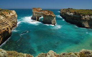 Бесплатные фото берег,обрыв,трава,бухта,море,утес,арка