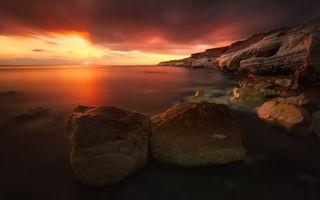 Фото бесплатно вода, скалы, закат