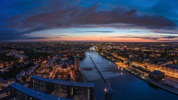 Заставки Берлин, Германия, река Шпрее, город, панорама, ночь, дома, здания, телебашня, дорога, огни, архитектура