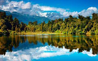 Фото бесплатно озеро, гладь, отражение, деревья, горы, небо, облака