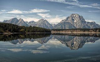 Фото бесплатно лес, отражение, горы