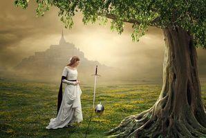 Обои поле, туман, девушка, меч, шлем, art
