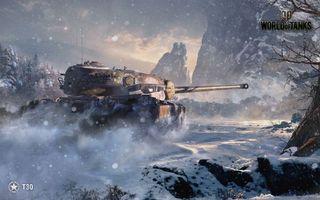 Бесплатные фото world of tanks,танк,T30,зима,снег
