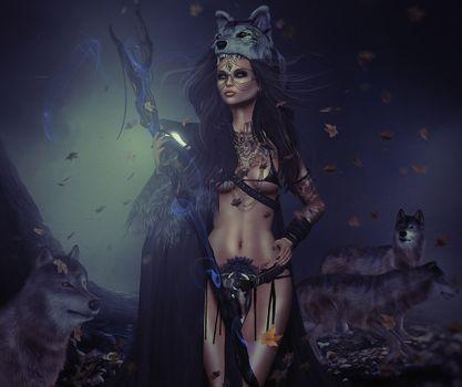 Фото бесплатно девушка воин, волки, ночь