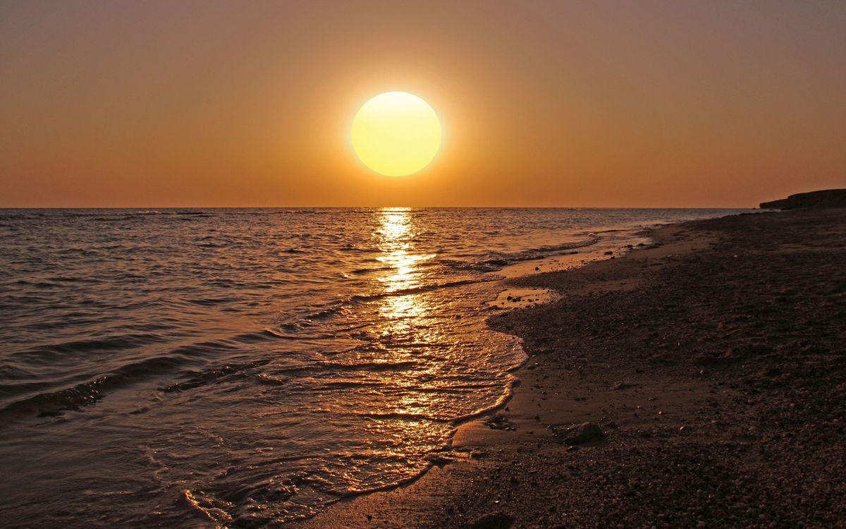 Фото бесплатно вечер, берег, море, горизонт, небо, солнце, закат, пейзажи - скачать на рабочий стол