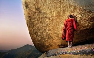 Photo free monk, Buddhist, red robe
