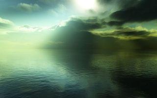 Заставки море, горизонт, небо, облака, лучи, солнце