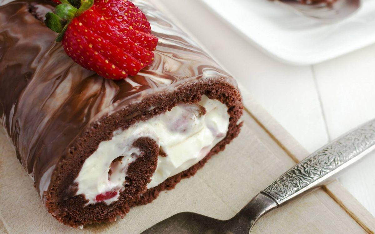 Фото бесплатно десерт, рулет, крем - на рабочий стол