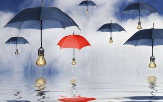 Бесплатные фото зонтики,лампочки,свет,вода,дождь,капли,небо