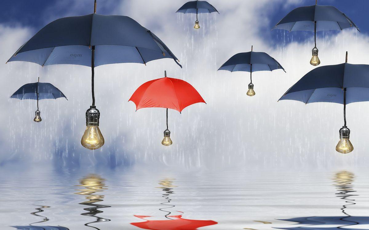 Фото бесплатно зонтики, лампочки, свет, вода, дождь, капли, небо, облака, разное