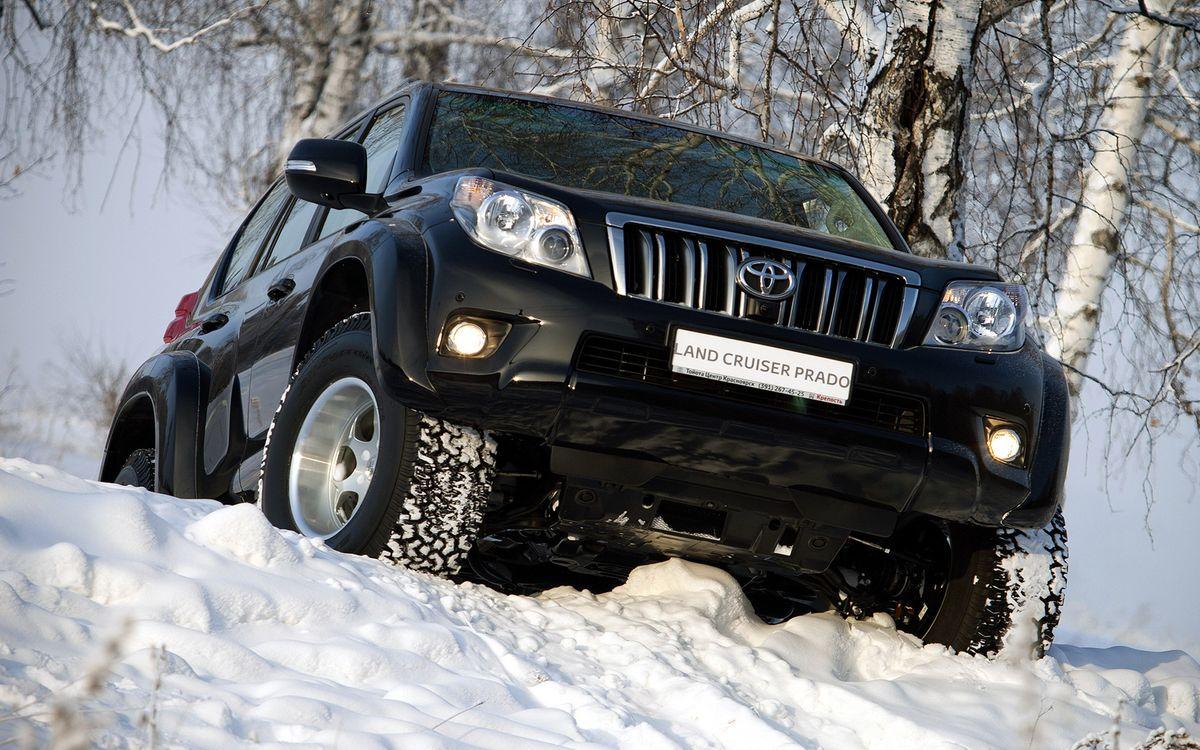 Фото бесплатно тойота, ленд крузер, прадо, черный, зима, снег, бездорожье, машины