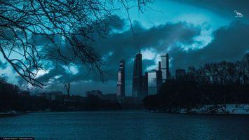Фото бесплатно ART IRBIS PRODUCTION, Москва, небоскребы, дома, река, туман, снег, Khusen Rustamov, Хусен Рустамов, фотограф, xusenru, Природа, Россия, Город, мрак
