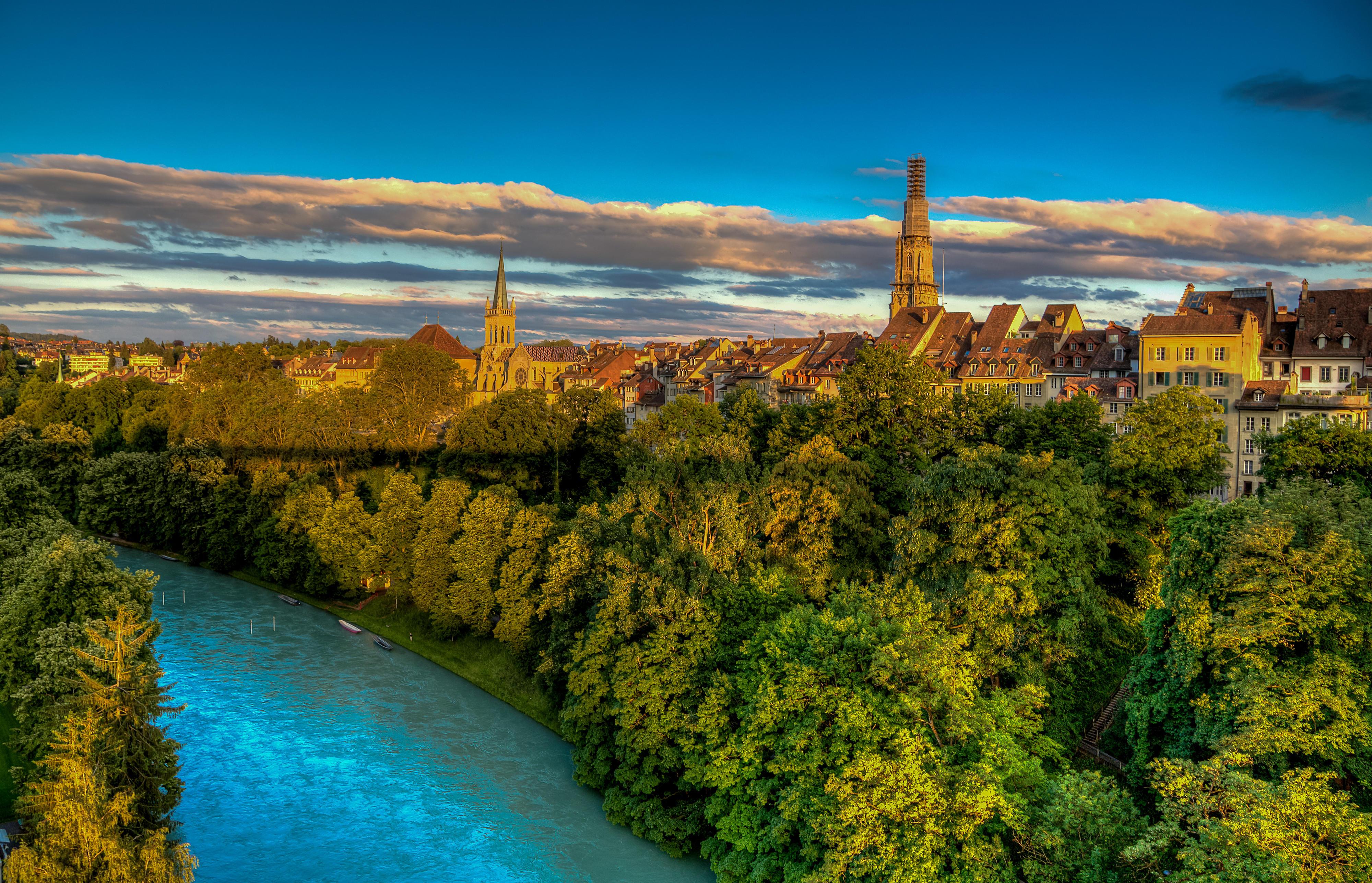 обои Швейцария, Берн, Церковь Св Петра и Св Павла, Река Ааре картинки фото