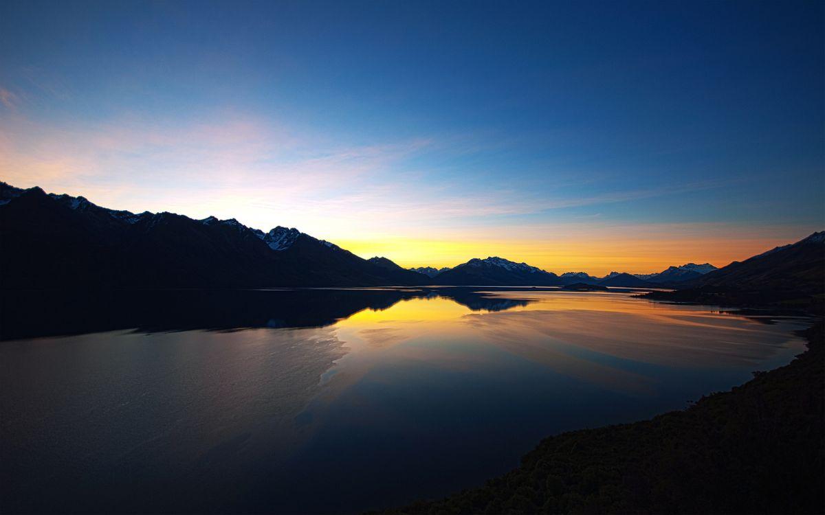 Фото бесплатно вечер, озеро, горы, вершины, снег, небо, закат, пейзажи