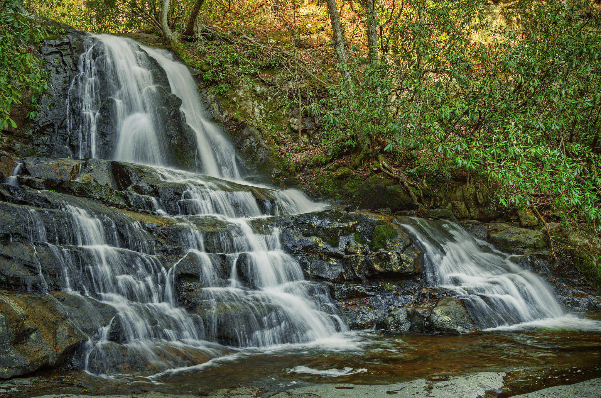 обои Национальный парк Грейт-Смоки, Laurel Falls, водопад, скалы картинки фото