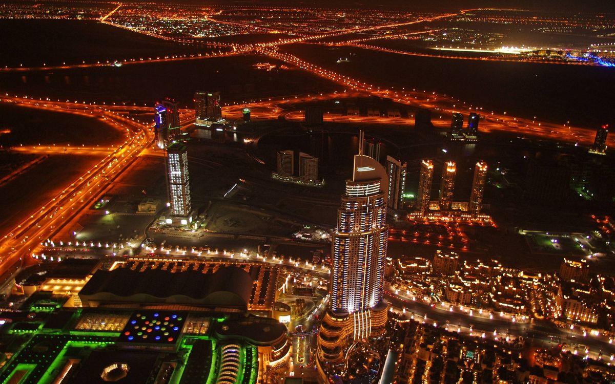 Фото бесплатно ночь, дома, здания, небоскребы, дороги, фонари, огни, вид с высоты, город