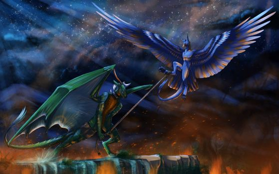 Фото бесплатно ночь, драконы, фантастика