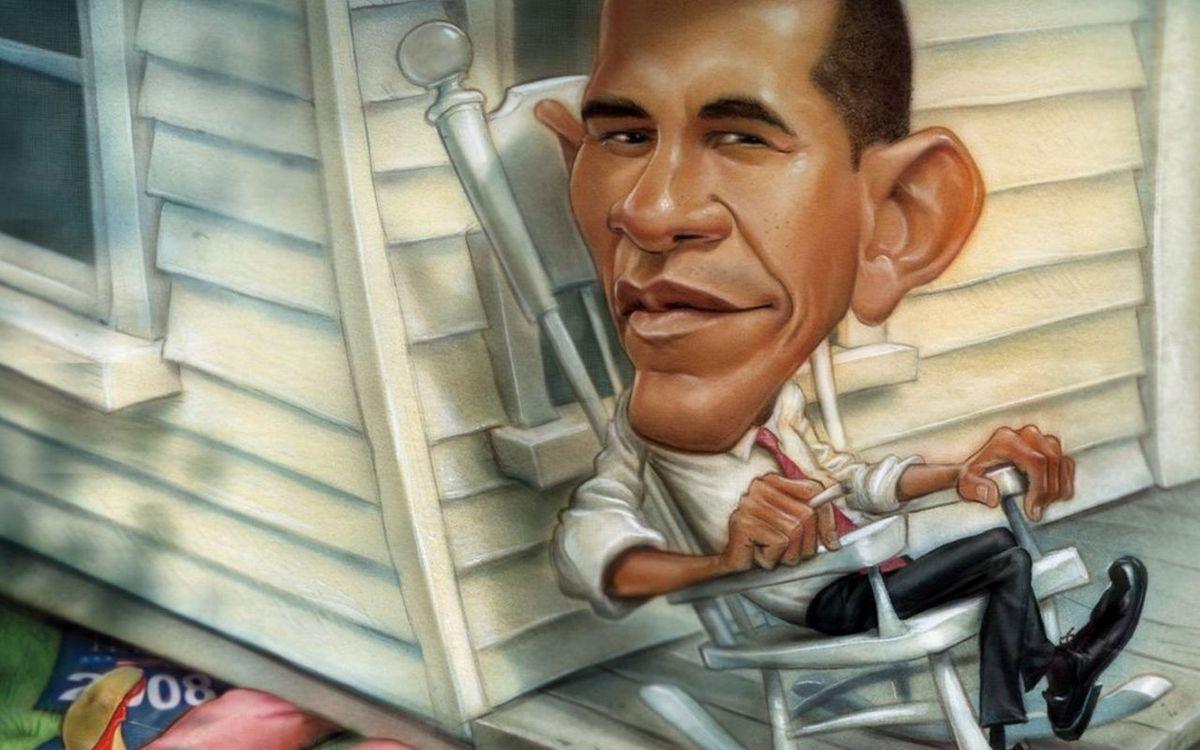 Обои рисунок, карикатура, барак обама, кресло-качалка, дом на телефон | картинки разное