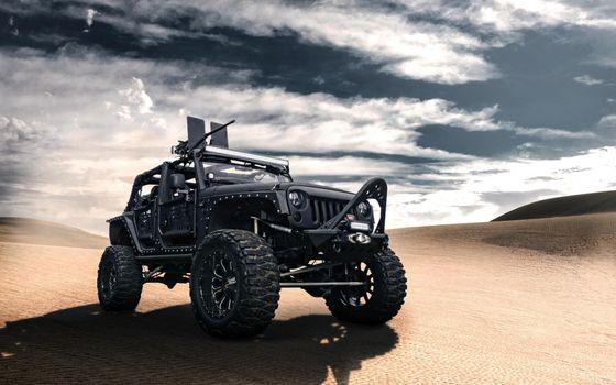 Фото бесплатно Чёрный Jeep Wrangler-Front, пулемёт, протекторы