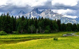 Бесплатные фото горы,трава,лес,ручей,облака
